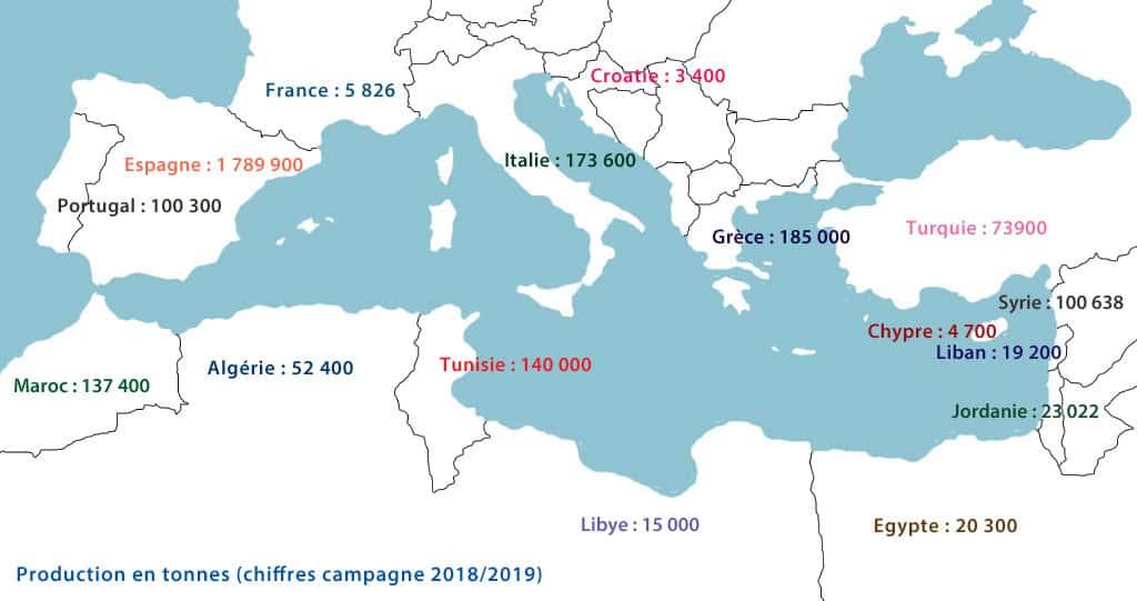 Carte de la répartition de la production méditerranéenne d'huile d'olive